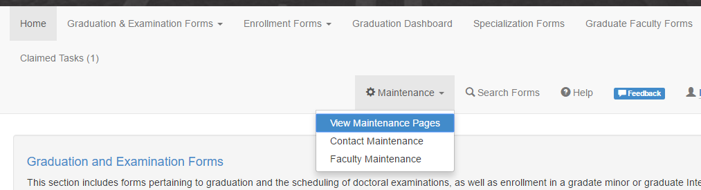 GRADFORMS Update: Maintenance Screens