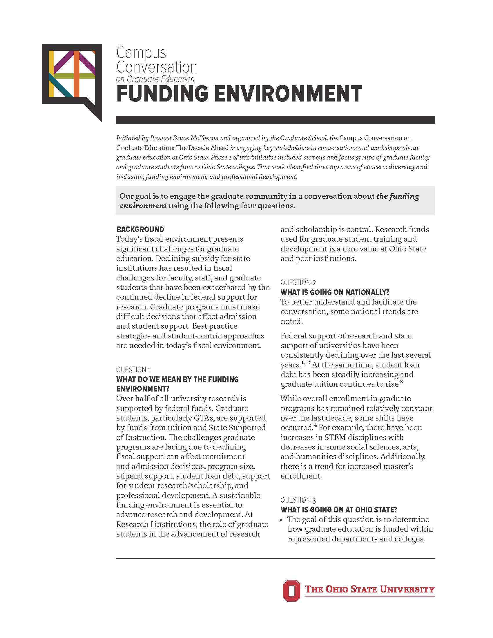 Funding environment one-pager