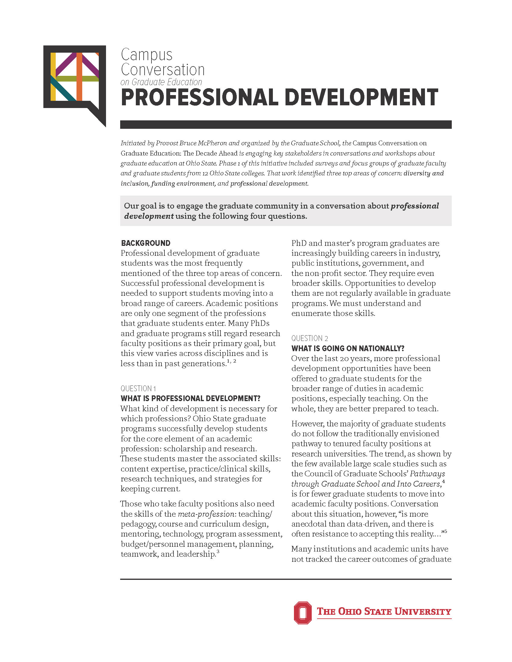 Professional development one-pager